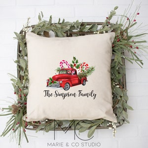 Red Christmas Truck Merry Christmas Throw Pillow Cover Home Etsy