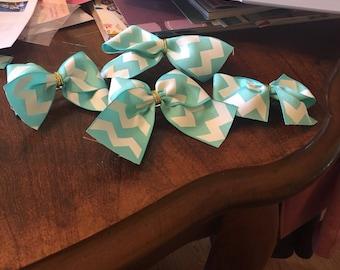 Girls Blue/White Chevron Bow