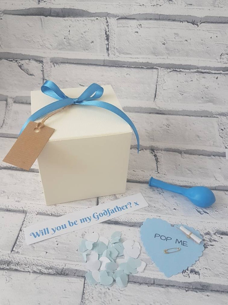 christening pop the balloon balloon in box new Will you be my Godmother