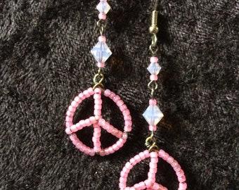 Peace sign, pink, swarovskis