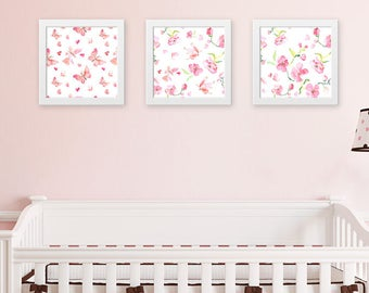 Watercolor Floral Blush Nursery Wall Art Set Baby Girl Room Decor Pink  Watercolor Painting Floral Print Set Flower Watercolor Set