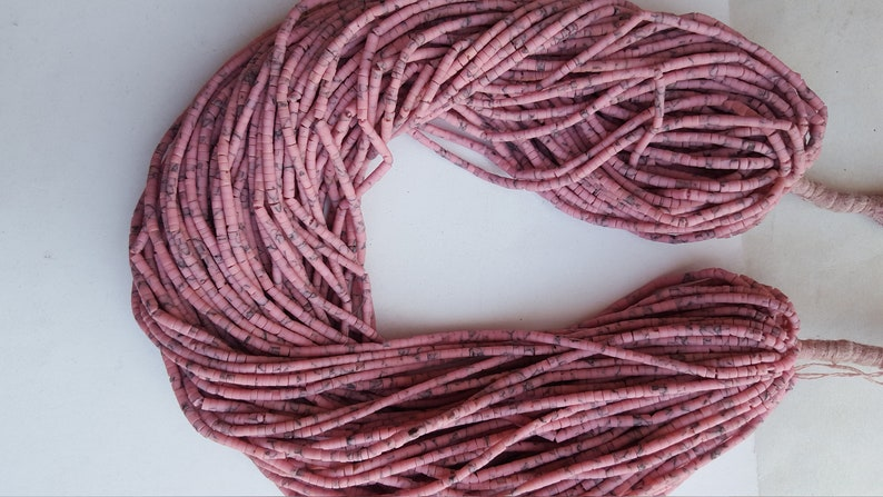 50/%off ~~20 Strands~~~ Newly Listed~~Matix Heishi Beads~~~ Pink Afghani Beads~~ 12 Inches long Strands~~~ 2.5 MM~~for jewelry making