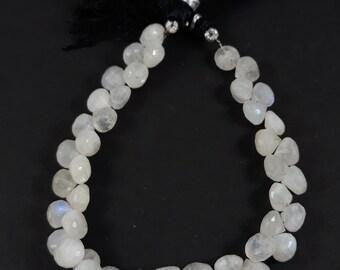50% off--1 strand --- natural rainbow moonstone---6x7mm-- 8 inch -- 42+ beads --- onion shape---AA quality