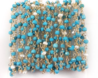 50% of---Turquoise with fresh water pearls beaded chain --3 to 3.5mm-- 24k gold plated wire wrapped rosary chain by feet--wholesale price