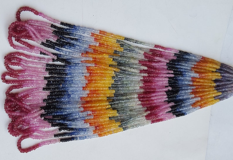 Genuine Multi Sapphire Strand ~~~ Faceted Rondelle Shaped Beads  ~~~ 1 Strand ~~~ Brilliant Color ~~16 inches long~~~ 3 MM~~Natural Gemstone
