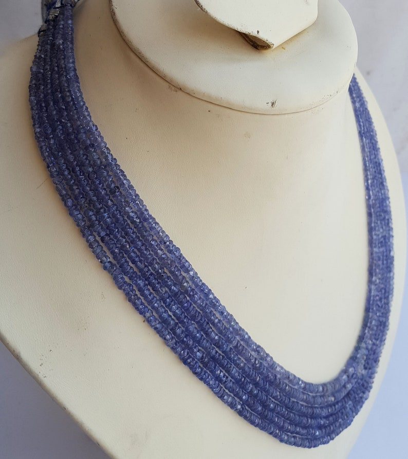 Genuine Tanzanite Necklace~~ ~~ Faceted Rondelle Beads~~3-4 MM ~~ 6 Strands ~~~Natural Gemstone~~20 inches~~~608 carat~~~ Wholesale price