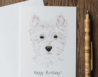 West Highland Terrier Birthday Card, Westie Birthday Card, Westie Card, Dog Birthday Card, Watercolour Card, Recycled Card, Eco-friendly