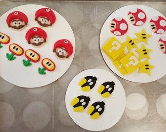 12 Super Mario Fondant Cupcake Toppers