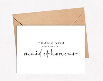 Thank you for being my maid of honour Wedding Cards Invites with Envelope simple