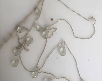 Necklace silver and peridot faceted drops