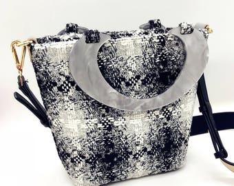 Silver Gray Check Pattern Messenger Bag Handbag Pre-cut & pre-ironed Diy Kit