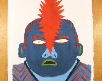 original portrait painting oil - punk