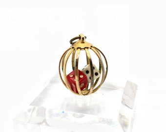 50s 60s Caged Dice Pendant and Charm, Red and White, Vegas, Gambler, Casino (W)