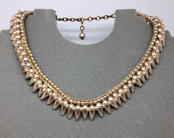 60's Crochet Beaded Choker, Goldtone