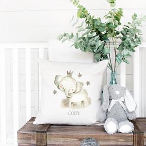 "12"" Handmade Nursery Cushion Cover Grey Elephants Baby Shower Gift Christening"