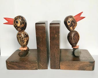 Vintage Art Deco Nut Bird Bookends
