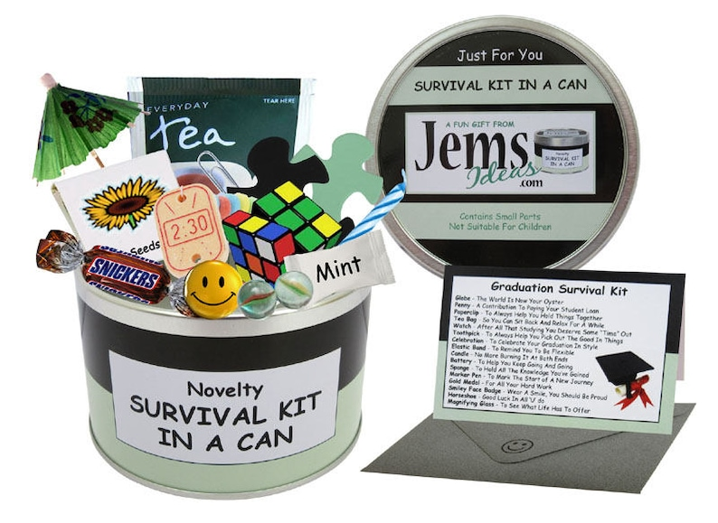 Graduation Survival Kit In A Can. Fun Gift & Card For image 0