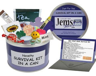 Get Well Soon Survival Kit In A Can. Fun Thinking of You/Them Keepsake For A Friend or Loved One. OTHER COLOURS AVAILABLE