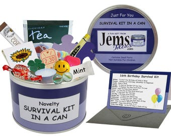 16th Birthday Survival Kit In A Can. Fun Happy Birthday Gift & Card. Teenage/Teenager/Son/Daughter/Friend. OTHER COLOURS AVAILABLE.