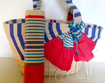 Bassinet TACAPES Fouta blue and Red beach bag