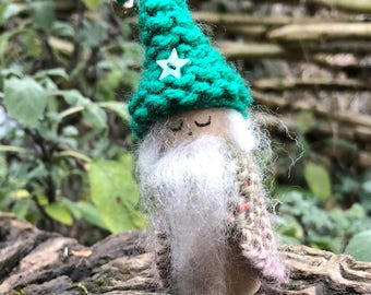 Wooden Peg doll, Grandfather Elf. hand knitted from recycled wool.