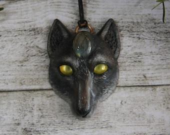 Wolf pendant / Black wolf / Spirit animal / Clay wolf / Cletic   Etsy