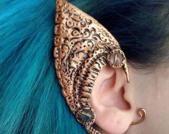Elf Ear Cuff / Polymer clay ear cuff / Copper wire  ear cuff /Single right ear cuff/ Elven ear