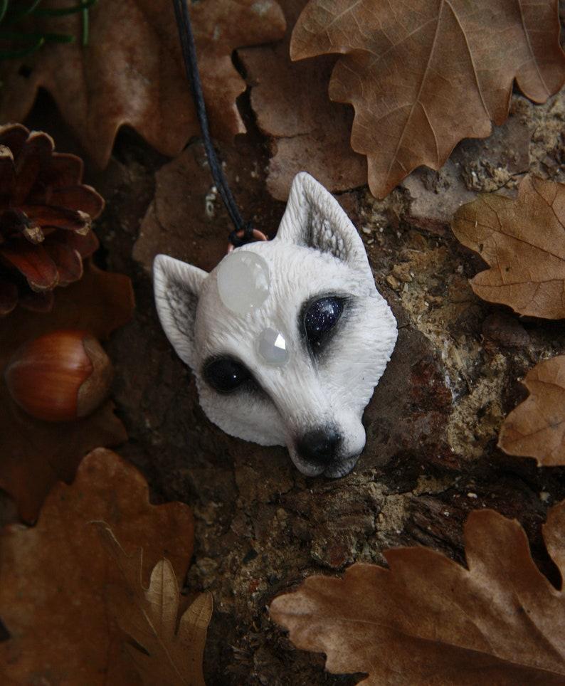 Arctic fox pendant / Fox pendant / Fox amulet / Spirit animal / Celtic /  Pagan / Polymer clay pendant / Clay animal / Moonstone / OOAK /
