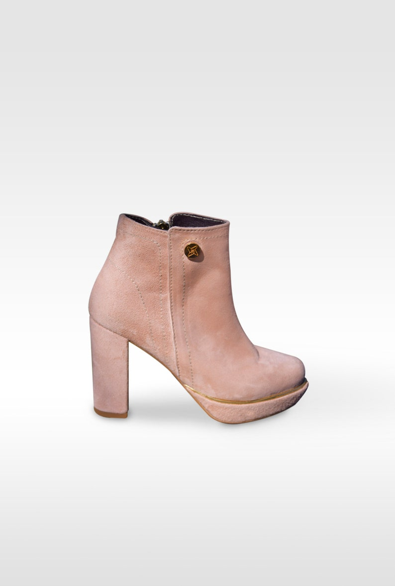 220aa9068c7 Petite Nude Ankle Boots with Platform and Gold Details. Nobuck & Leather.  Handmade. Exclusive Design. Small Sizes.