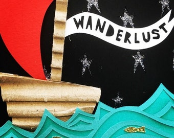 Wanderlust - original papercut illustration