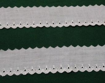 """White Cotton Lace Trim 1 1/4"""" Wide"""