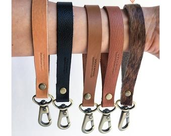 Cowhide Leather Wristlet Keychain