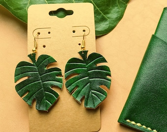 Monstera leaf Leather Earrings / Lightweight earrings  / Hand painted Earrings/ Ready to ship / Handmade gift for her  / MountainFoxGoods