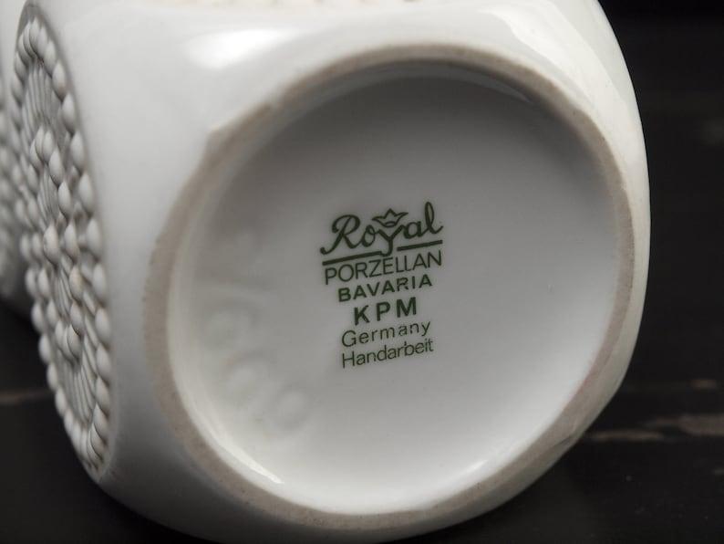 Royal KPM Bisquit Vase mid-century West German vintage porcelain modernist Op Art triple cube