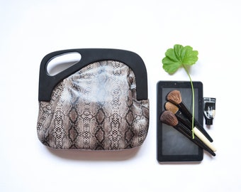 Women's Leather Clutch, Evening Leather Bag, Wooden Frame Clutch Purse, Toiletry Bag, Leather аnd Wood Clutch, Grey Snake