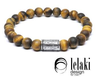 Matte Tiger Eye bracelet, mens bracelet, beaded bracelet, yellow bracelet, brown bracelet, tiger eye