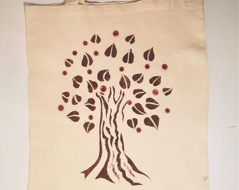 Red Tree of Life Tote Bag