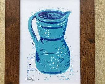 Lino Print of a blue jug.