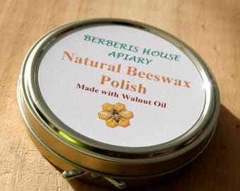 Natural Beeswax Furniture Polish made with Walnut Oil, easy to use and children friendly.