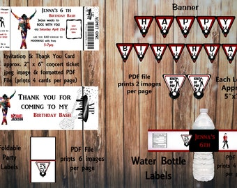 Printable Michael Jackson Birthday Kit Invitation And Thank You Card Water Bottle Label Banner Party Labels