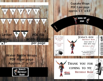 Printable Michael Jackson Birthday Kit Invitation And Thank You Card Water Bottle Cupcake Wrap Banner