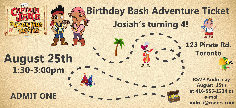 Jake and the Neverland Pirate Birthday Invitation Printable   Etsy