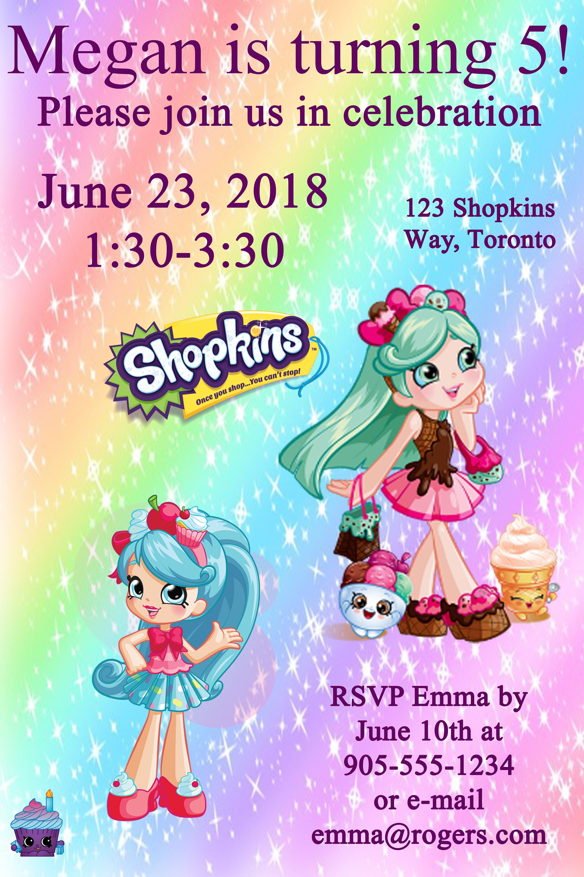 Shopkins Birthday Invitation Printable Custom Digital File