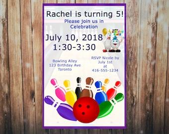 Bowling Birthday, Bowling Party, Bowling invitation, digital, custom