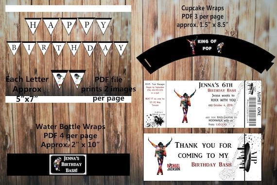 Printable Michael Jackson Birthday Kit Invitation And Thank