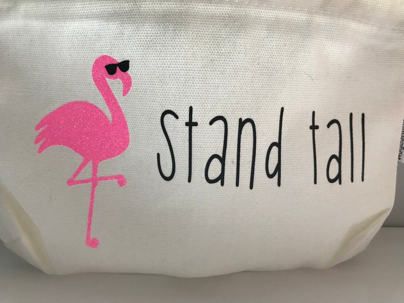 and more Great for the beach or pool! make up pencils Flamingo Stand Tall Large Canvas Pouch-perfect for pens
