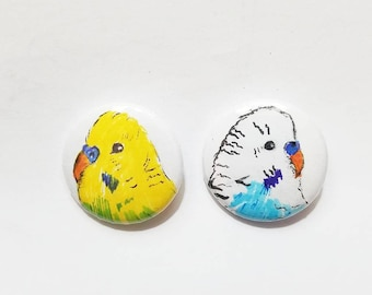 Custom (1) budgie parakeet pin button