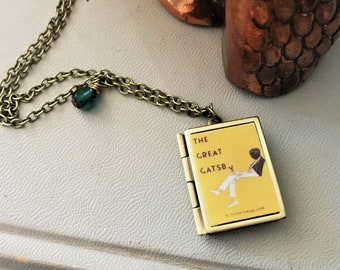 The Great Gatsby F. Scott Fitzgerald Book Locket - Antique Brass with Green Bead