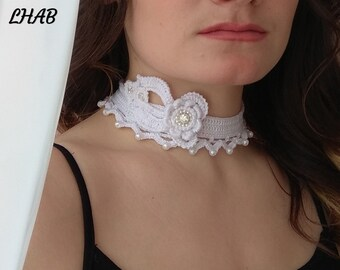 Wedding Choker Crochet Wedding Necklace Wedding Jewelry Bohemian Necklace  Boho Choker Necklace White Choker Prom Necklace White Flower