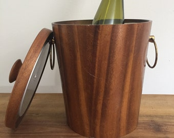 Vintage Teak Ice Bucket with Brass Handles